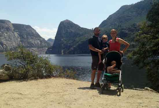 Jon, Anne, and the kids at Hetch Hetchy Reservoir, Yosemite, 2013.