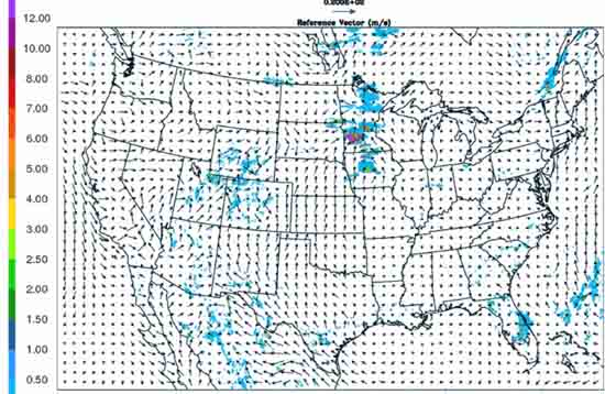 Lightening and Wind probabilities over the United States