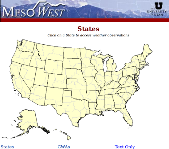 All MesoWest real-time weather reporting information.