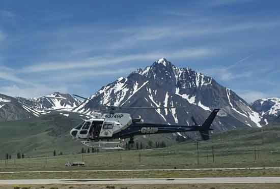 H40 landed at the Mammoth-Yosemite airport, Mount Morrison in background. Mono SAR Photo.