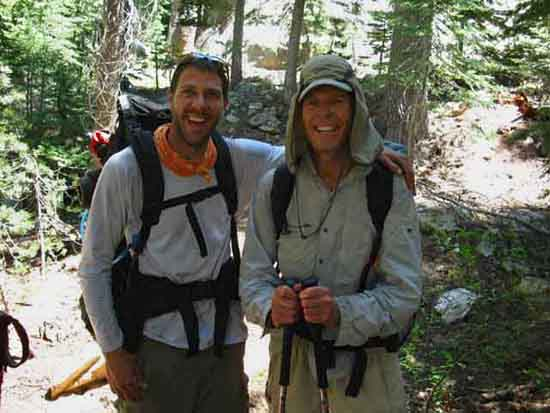 Dave Bewley and Nathan hiking PCT North Yosemite, 2010.