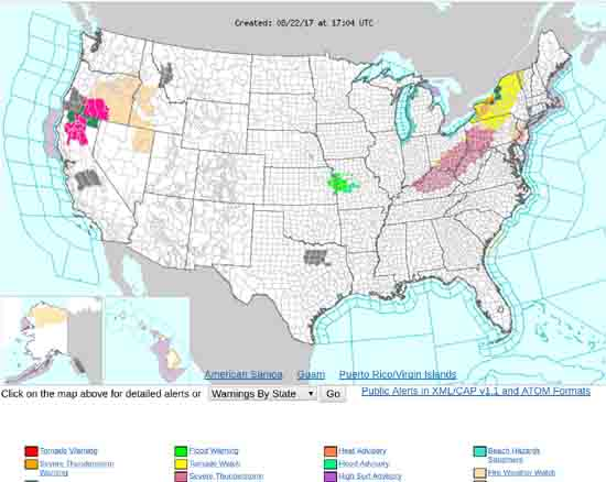 National Weather Hazards Map