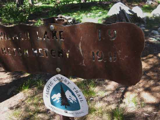 New Pacific Crest Trail signs across Yosemite, here at Tilden Lake in Jack Main Canyon.