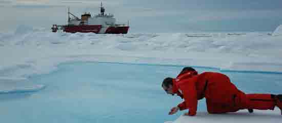 NOAA science on Arctic Ice, photo credit NOAA.