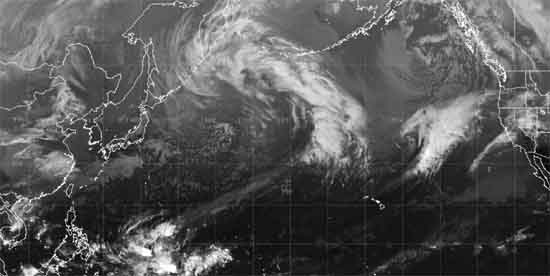 NWS 28 KM Water Vapor Satellite Animation of North Pacific Ocean.