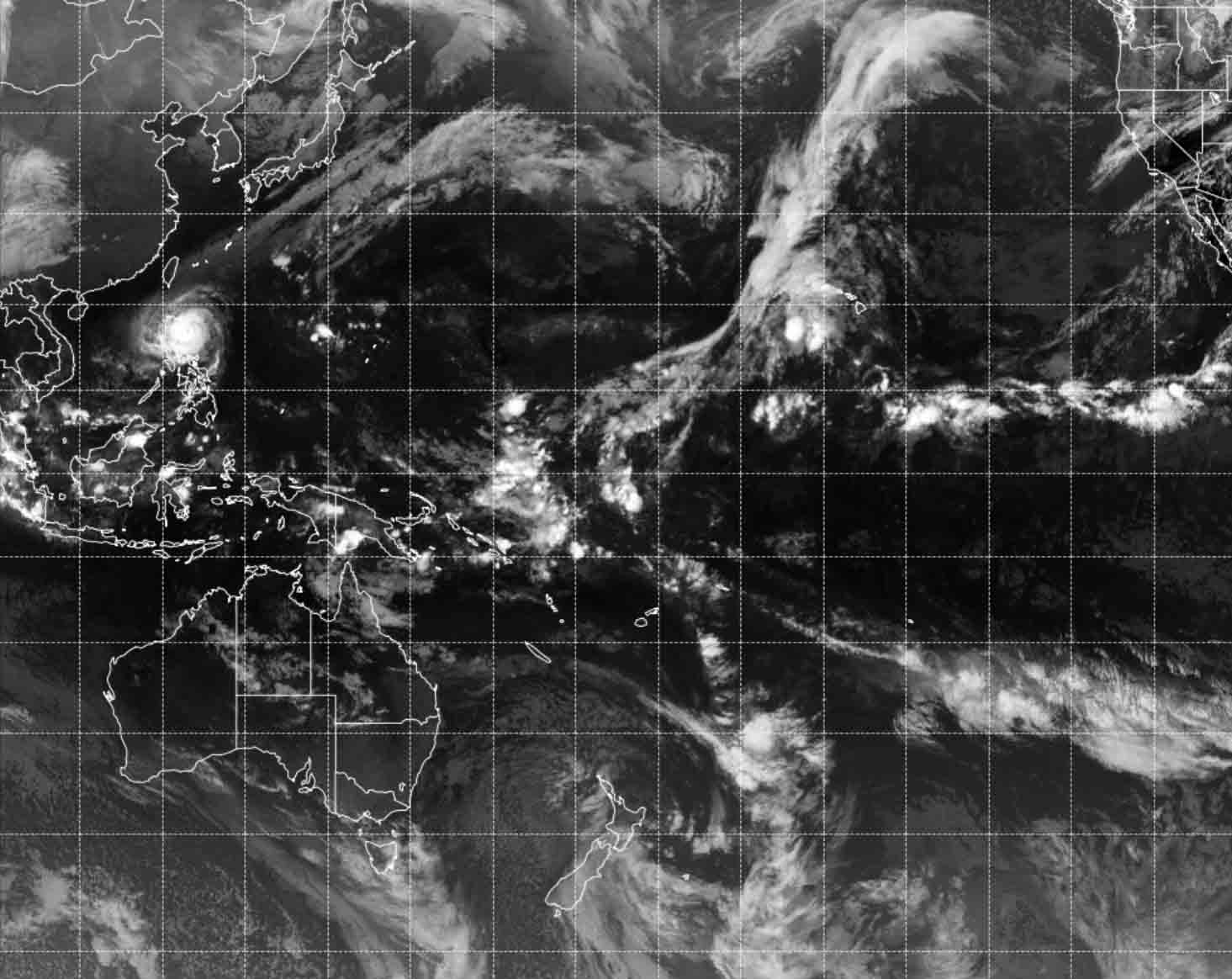 North-Central Pacific Satellite View, including Indonesia, Aviation Weather Center.