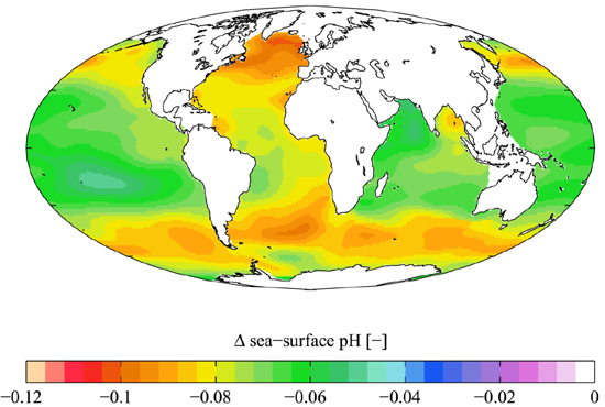 Ocean Acidification since 1700, Global Ocean Data Analysis Project, by Plumbago.