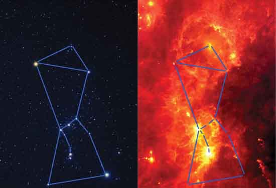 Orion in Visible and Infrared Light, by Akira Fujii & NASA.