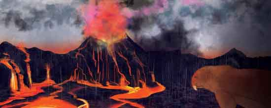 A volcanic eruption spells doom for a predatory gorgonopsid during the Permian Period, by Margaret Weiner/UC Creative Services.