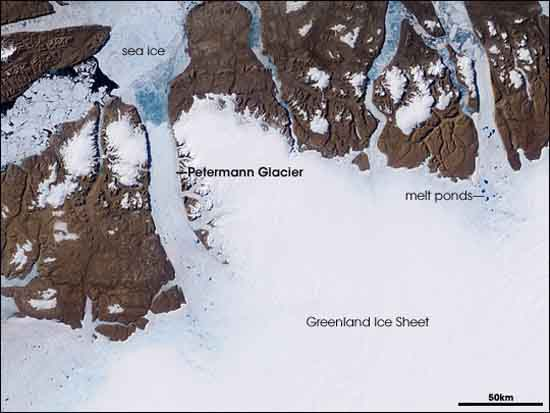 Petermann Glacier, Greenland, observed by the Moderate Resolution Imaging Spectroradiometer (MODIS) on NASA's Terra satellite on July 5, 2003, image by Jesse Allen and Robert Simmon.
