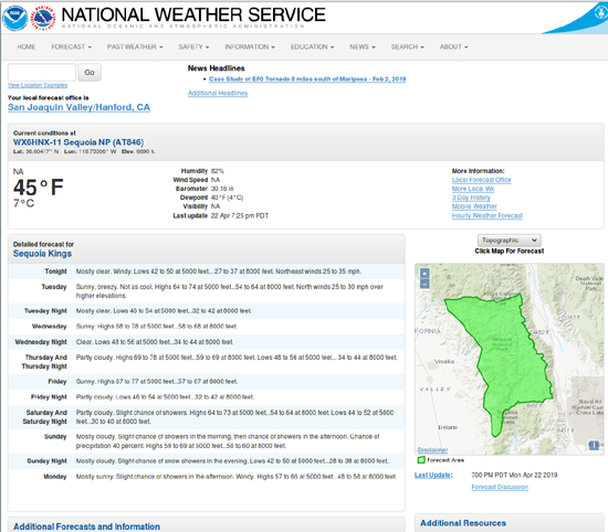 National Weather Service Seven Day Forecast for Sequoia-Kings Canyon National Park.