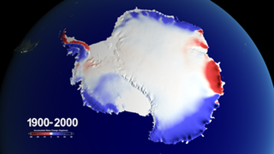100 Years of Accumulated Mass Change over Antarctica. Credit to NASA's Goddard Space Flight Center.