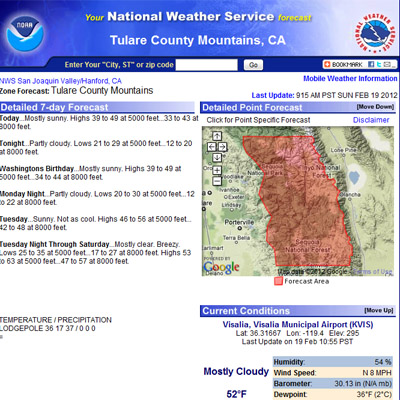 Southern high Sierra weather forecasts.