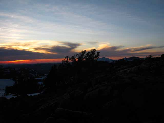 Spring Sunset from Round Top and the Sisters above Carson Pass in the CPMA.