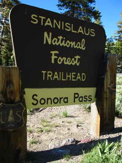 Stanislaus National Forest sign at Sonora Pass Trailheads parking-picnic area.