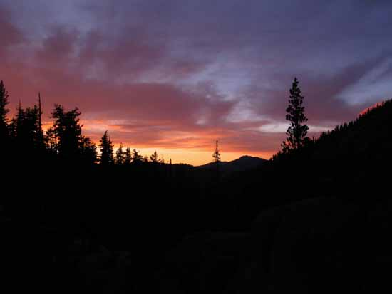Fine tropical-influenced sunset from Clarks Meadow hiking the Tahoe to Yosemite Trail in July of 2015