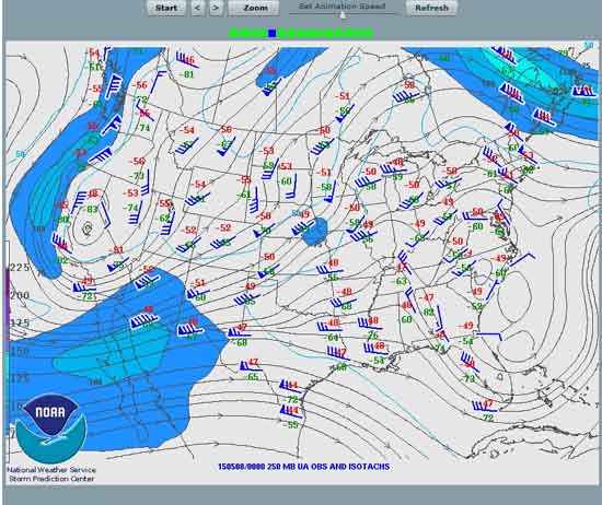 Surface winds and pressures across United States.