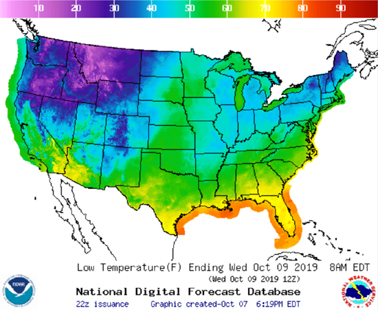 National Weather Service Six Day United States High & Low Temperature Forecast.