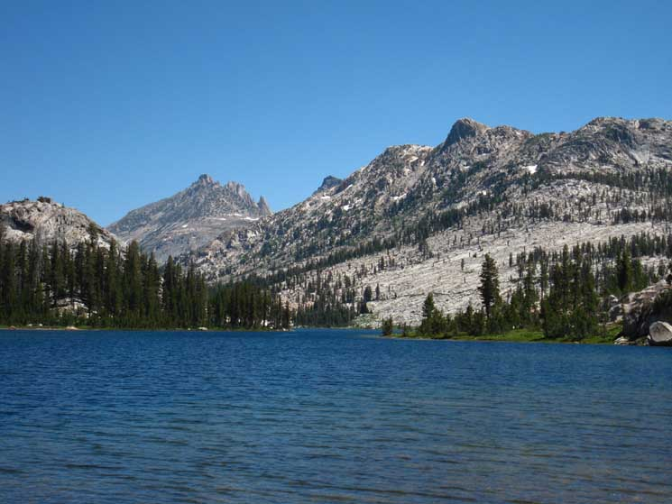 Tower Peak across Tilden Lake along Tahoe to Yosemite Trail in North Yosemite Backcountry.
