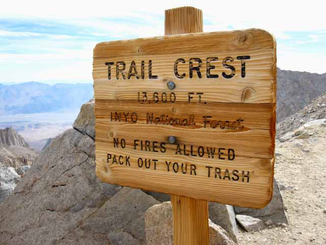 Trail Crest on Mount Whitney with Owens Valley and White Mountains in background.