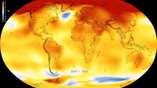 The years 2014-2018, averaged on this map, were the warmest years in the modern record, NASA.
