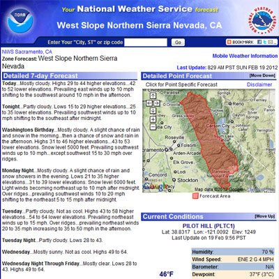West Central Sierra Nevada Weather Forecasts.