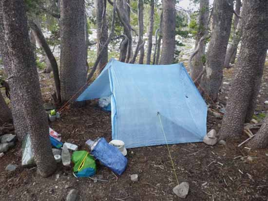 Carol Crooker's ZPacks Duplex tarp set up in Desolation Wilderness.